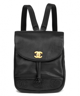 Chanel Vintage Black Caviar Leather Backpack