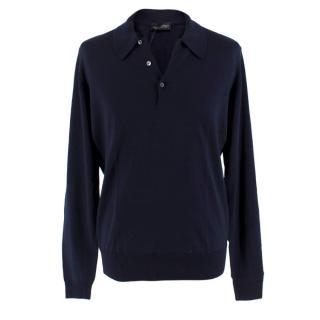 John Smedley Navy Wool Long Sleeve Polo Shirts
