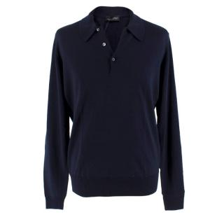 John Smedley Navy Wool Long Sleeve Polo Shirts