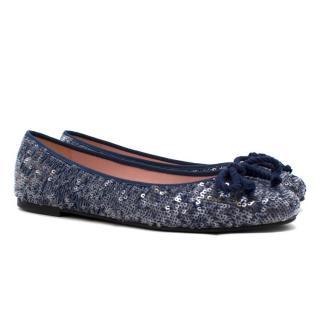 Pretty Ballerinas Blue Sequin Flats
