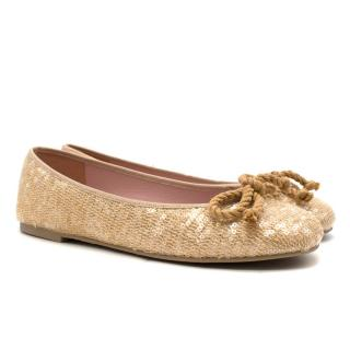 Pretty Ballerinas Gold Sequin Flats