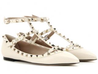 Valentino Garavani Cream Rockstud Leather Ballerinas