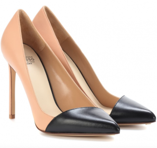 Francesco Russo two-tone black & nude leather pumps