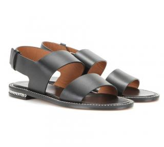 Givenchy Black Leather Chain Trim Sandals