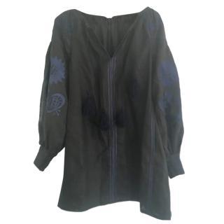 Wonder & Weaver Black & Blue Embroidered Tunic Dress