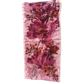 Kenzo Pink Floral Silk Scarf