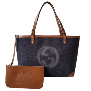 Gucci Wool Felt & Leather Tote Bag