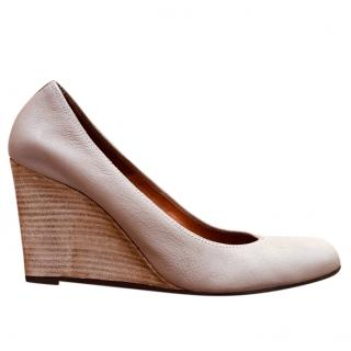 Lanvin Nude Leather Wedge Pumps