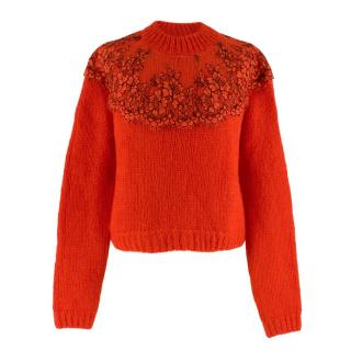 Christopher Kane Red Floral Lace Wool Jumper