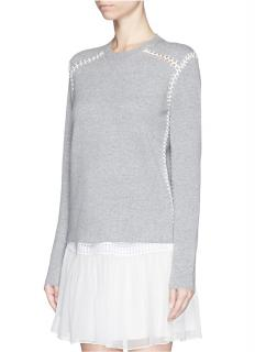Chloe Blanket Stitch Cashmere Cotton Sweater