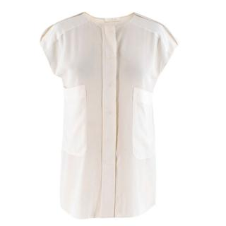 Chloe Cream Silk blend Sleeveless Blouse