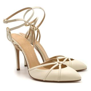 Charlotte Olympia Cream Leather Ankle Wrap Sandals