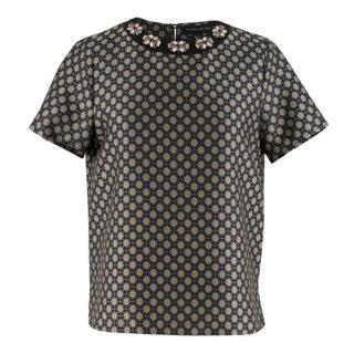 Etro 40 Black Printed Silk Blend Top with Jewelled Neck