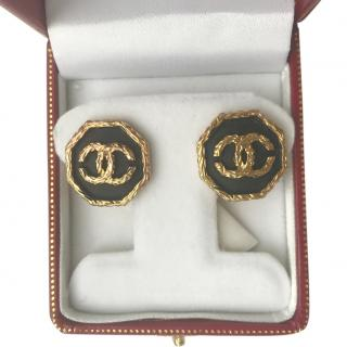 Chanel VIntage Black & Gold CC Earrings