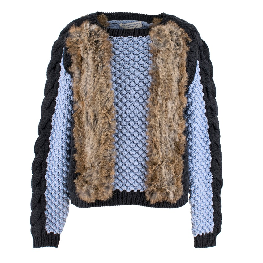 Opening Ceremony Rabbit Fur and Blue Merino Wool Jumper