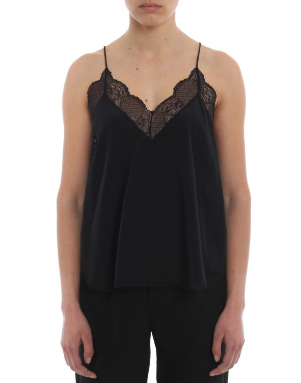 Zadig & Voltaire Christy Black Silk and Lace Tank Top