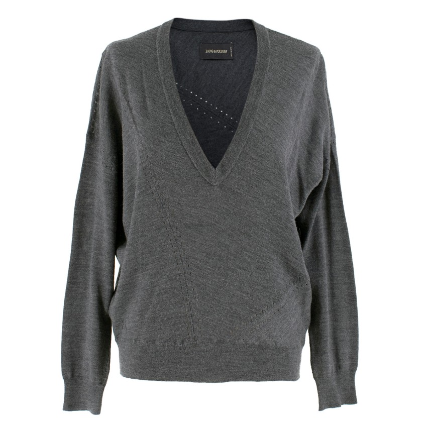 Zadig & Voltaire Grey Wool Long sleeve Knit Top