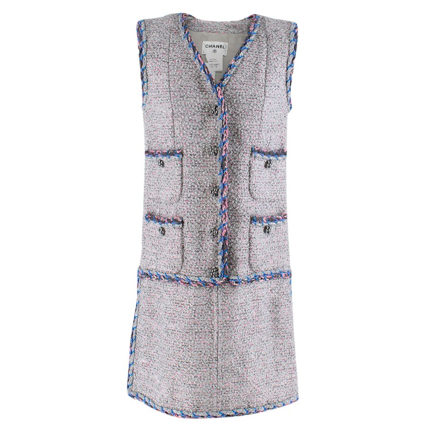 Chanel Grey & Pink Metallic Tweed Knit Dress
