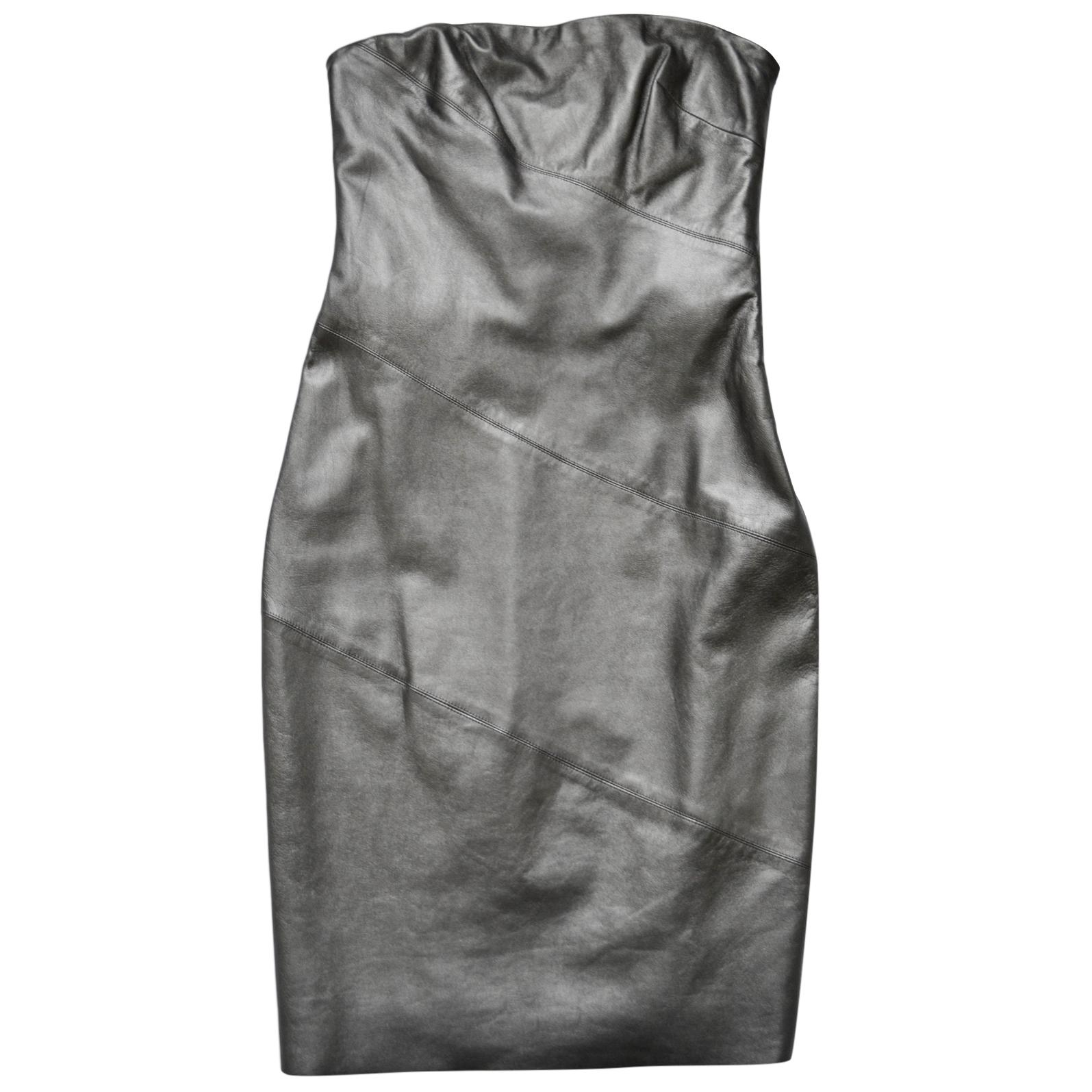 Ralph Lauren Black Label leather strapless mini dress