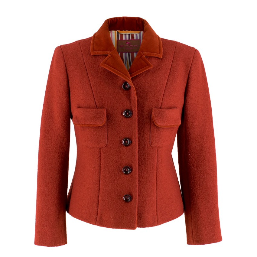 Etro Red Wool Jacket with Velvet Collar