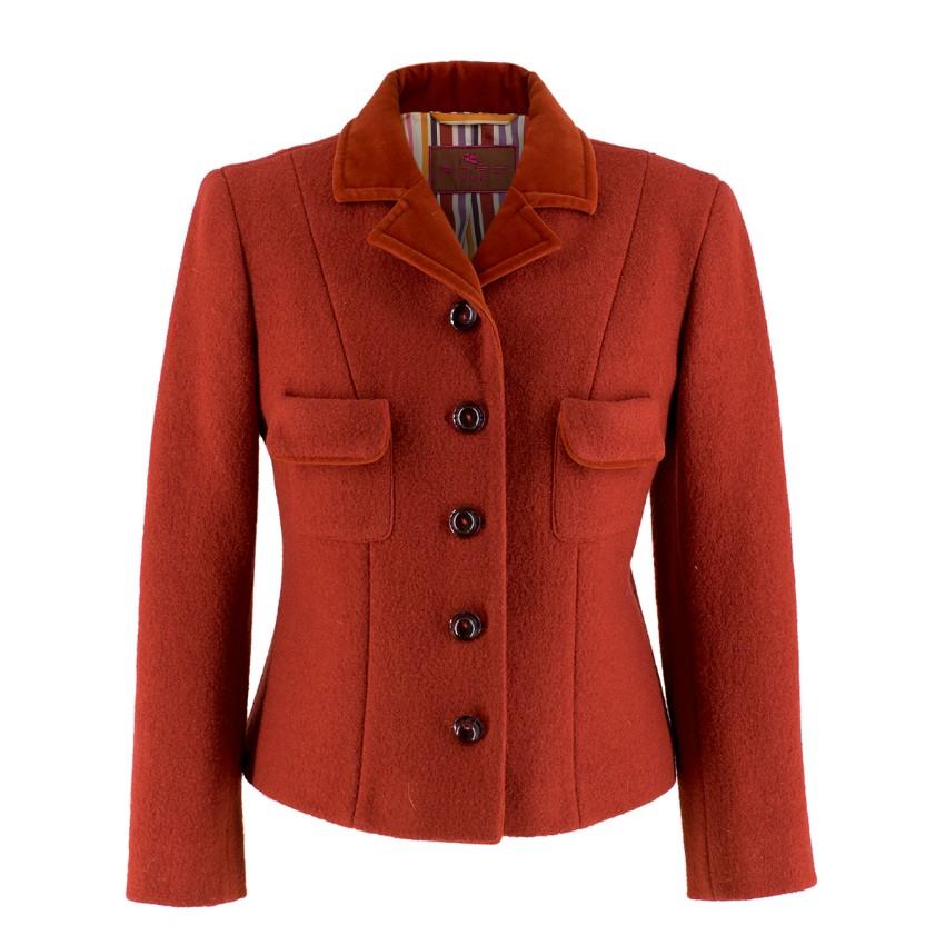 Etro Red Wool Jacket with Velvet Collar