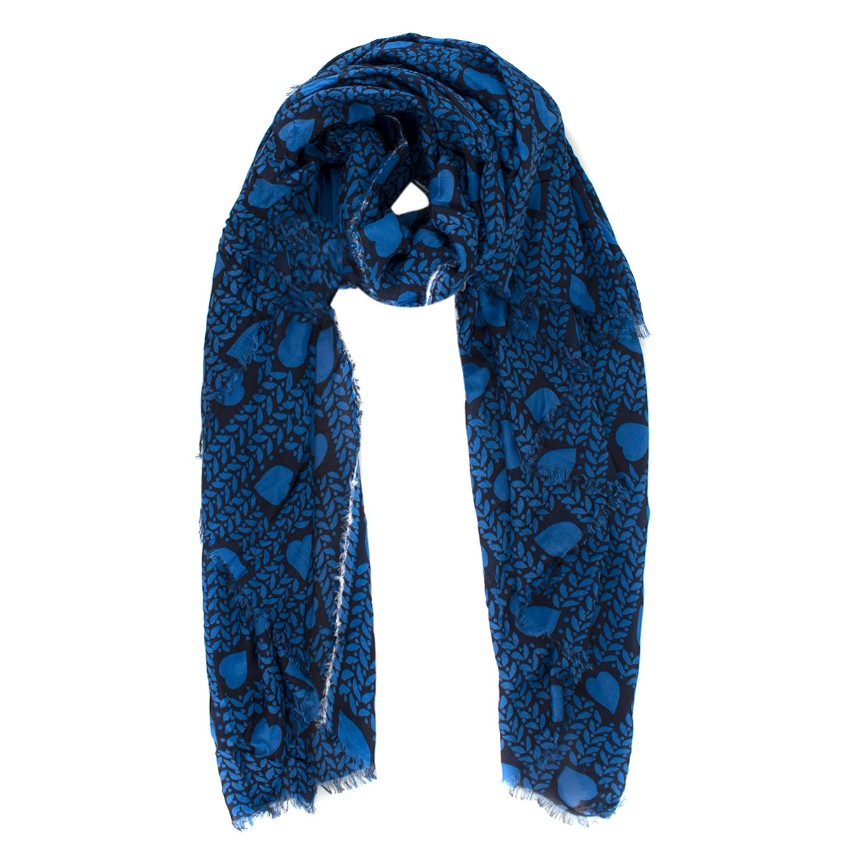 Stella McCartney Blue Heart Print Raw Edge Scarf