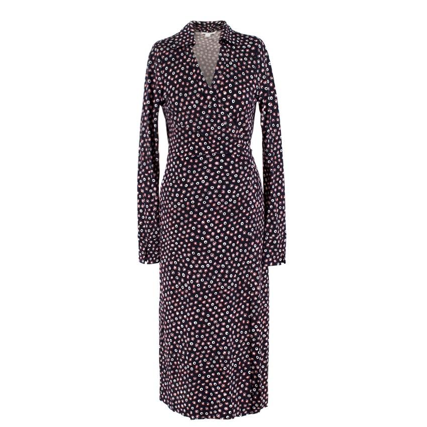 Diane Von Furstenberg Silk Circle Print Wrap Dress