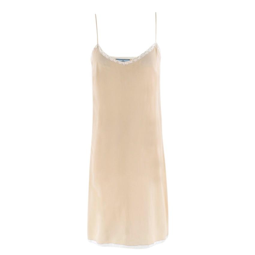 Prada Silk Blend Nude Mini Slip Dress