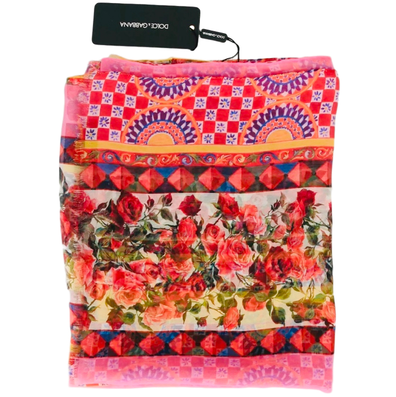 Dolce & Gabbana Rose Caretto Print Wrap Scarf