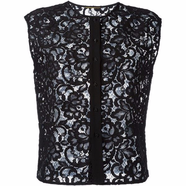 Saint Laurent Black Lace Sleeveless Top