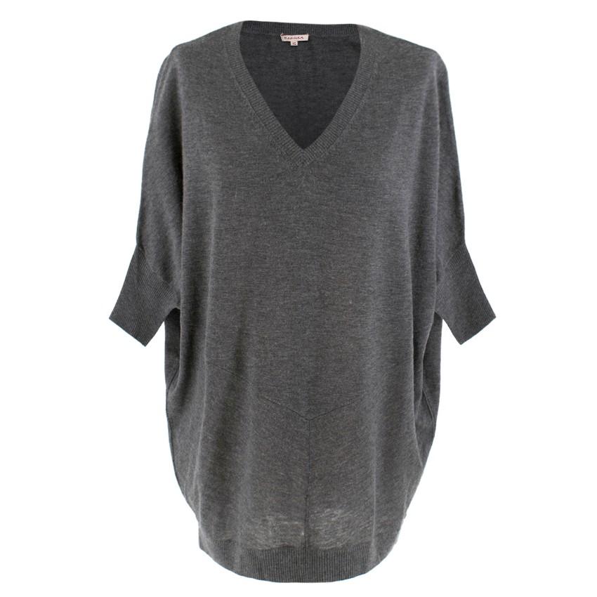 PAROSH Grey Wool & Cashmere Oversize Top
