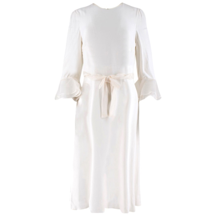 Valentino Off-White Bow-Tie Bell Sleeve Dress