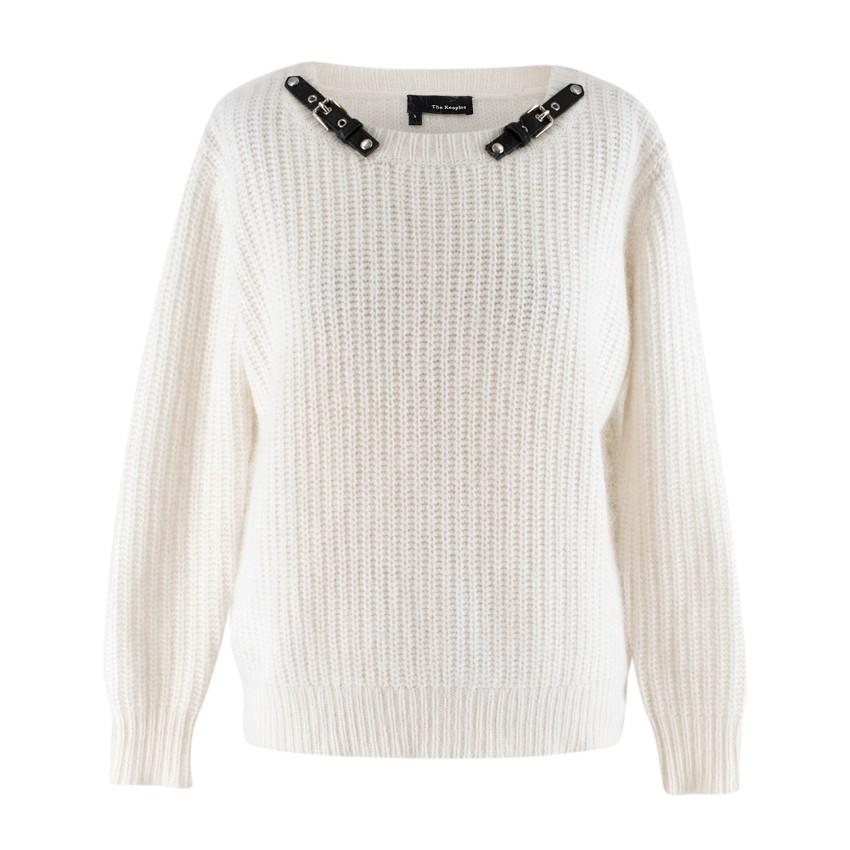 The Kooples White Angora blend Embellished Knit Sweater