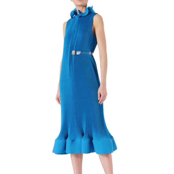 Tibi Blue Pleated Sleeveless Dress With Removable Belt