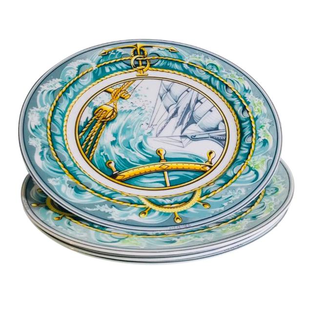 Hermes Porcelain Patchwork Bourrasque Collection Set of 4 Plates