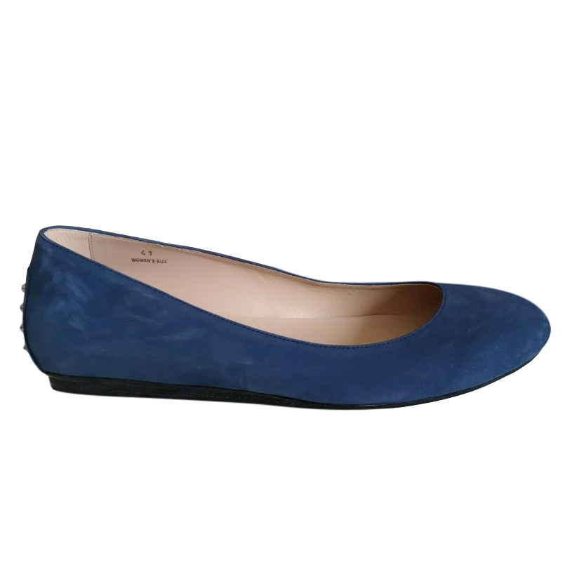 Tod's blue suede ballerina flats