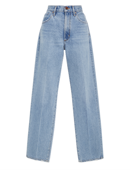 Goldsign High Rise Distressed Straight Leg Jeans