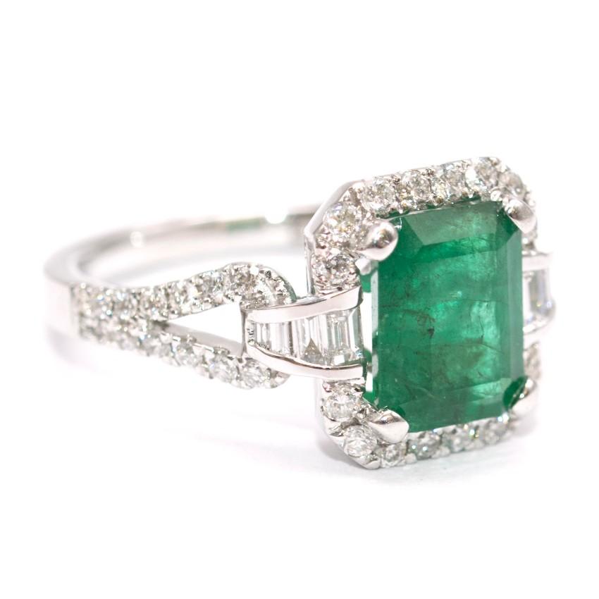 Columbian 2.19ct Emerald & 0.64ct Diamond 14k White Gold Ring