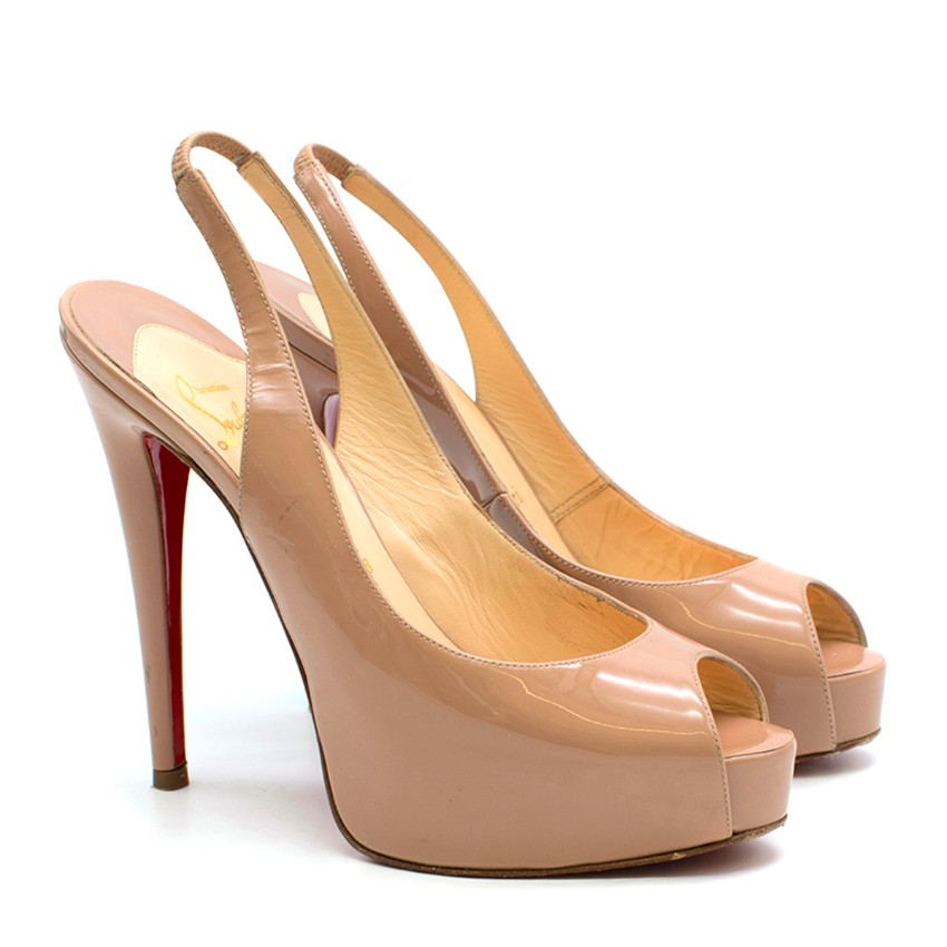 nouvelle arrivee 122a0 38a7e Christian Louboutin Nude Patent Leather Lady Peep Slingback Sandals