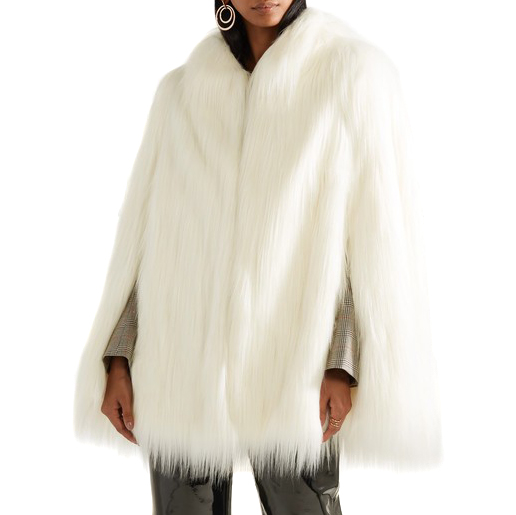 House of Fluff White Yeti Convertible Cape Coat