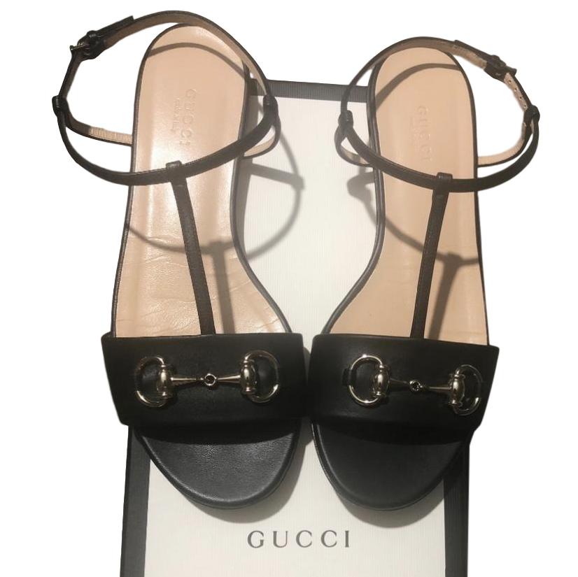 Gucci Black Horsebit Flat Sandals | HEWI