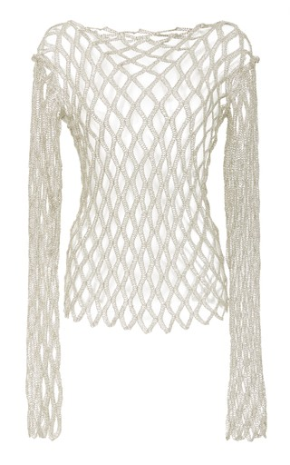 Rosetta Getty Metallic Fishnet Long Sleeve Top