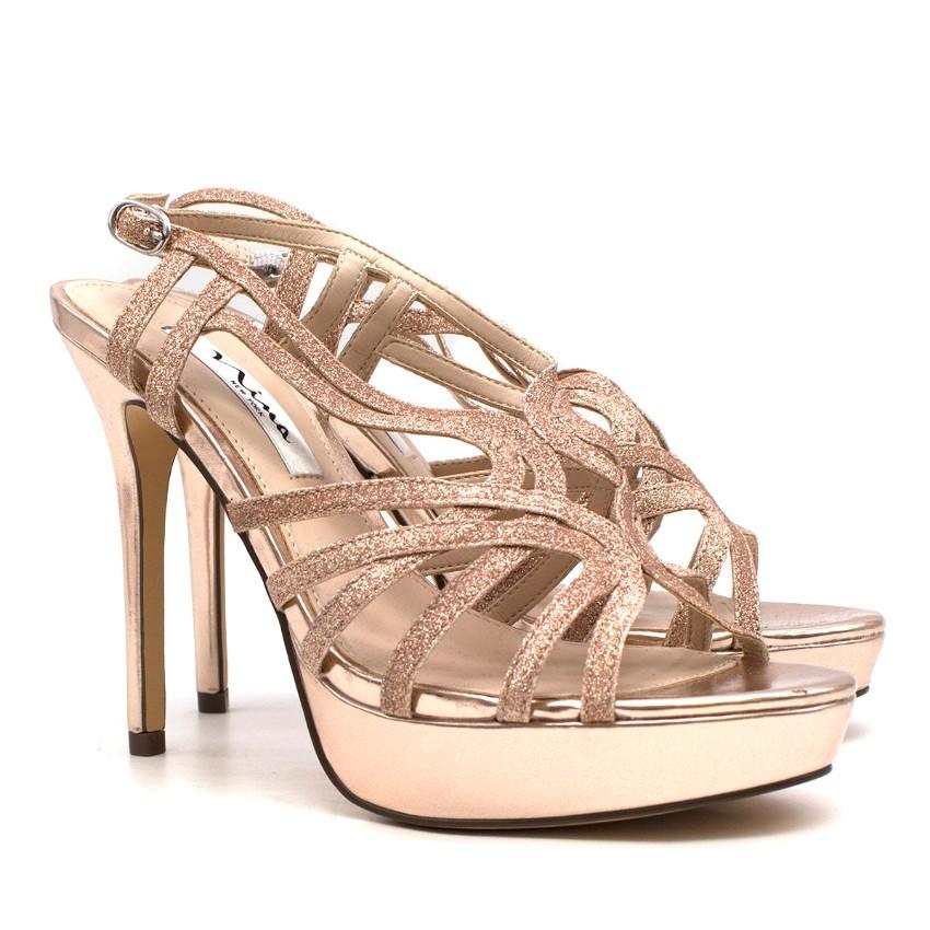 Nina New York Champagne Glitter Platform Sandals
