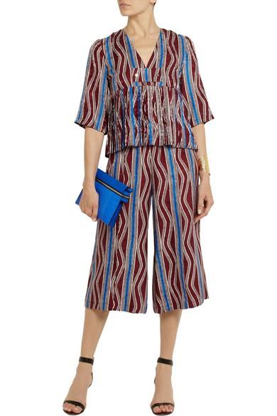 Suno capri length wide leg silk trousers and top