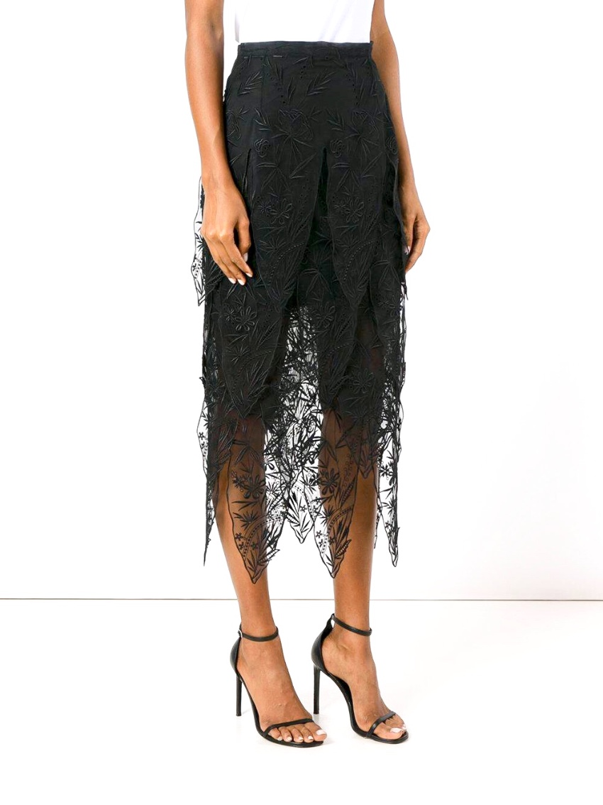 Christopher Kane embroidered black lace skirt