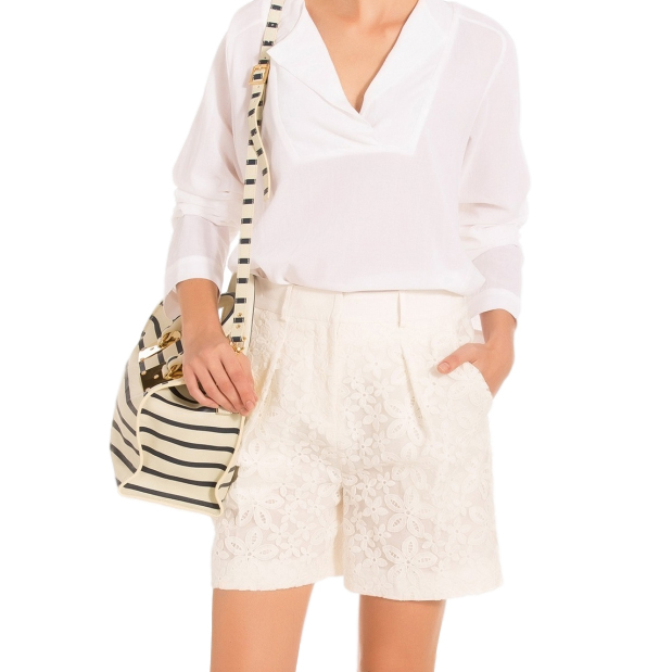 Joseph Off White Savile tailored Broderie Anglaise Shorts