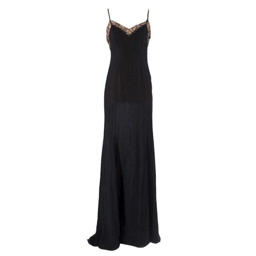Versace Black Silk Gown Slip Dress with Chain Details