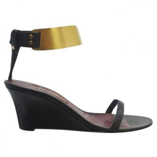 Loewe Gold Ankle Wrap Wedge Sandals