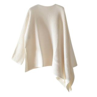 Dior White Ribbed Knit Cape Top