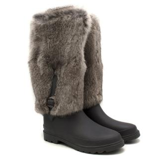 Tatoosh Grey Rain Boots with Removable Faux Fur Trim